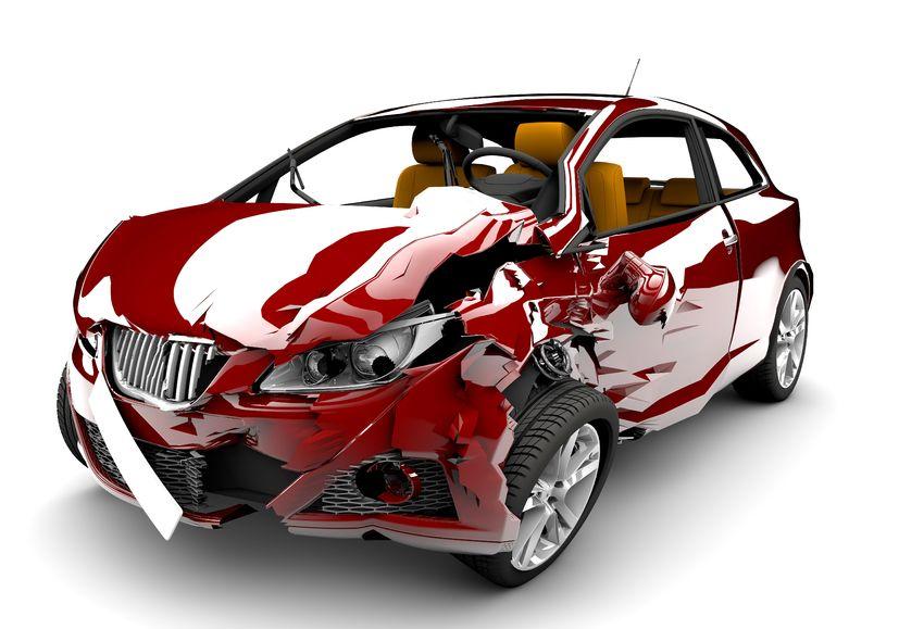 crashed car causing whiplash