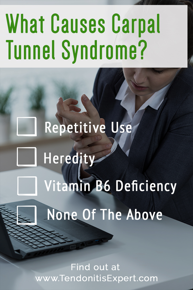 What re The Causes Of Carpal Tunnel Syndrome? -  Repetitive Use? -  Heredity -  Vitamin B6 Deficiency -  None Of The Above  Find out at www.TendonitisExpert.com/carpal-tunnel-syndrome-causes.html