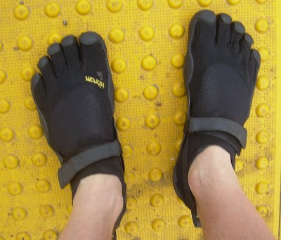 Vibram Five Finger KSO Barefoot Shoes on Yellow Bumps