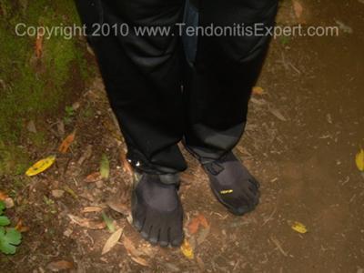 Kerri in her new Vibram Five Finger KSO barefoot running shoes