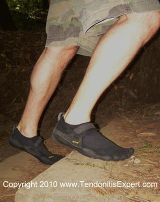 New Vibram Five Fingers KSO barefoot shoes up stairs on a mountain trail