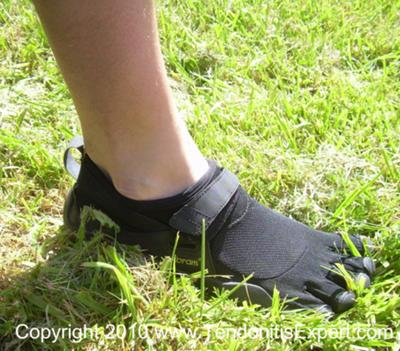 Grass between the toes of my Vibram Five FIngers KSO barefoot shoes