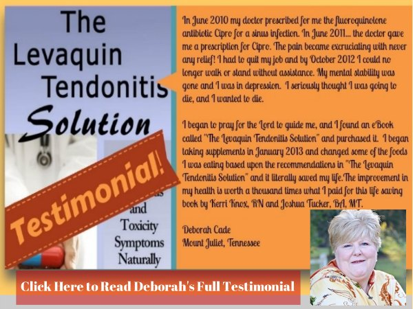 Levaquin Tendonitis Solution Testimonial, Levaquin Tendonitis solution Review, Review of the Levaquin Tendonitis Solution