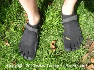 Joshua's New KSO Vibram Five Finger Barefoot Shoes, First Time In Grass