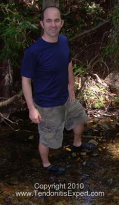 Me and my Vibram Five Finger KSO barefoot shoes in a creek